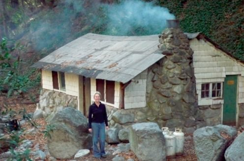 Frances at her cabin in the San Gabriel Mountains