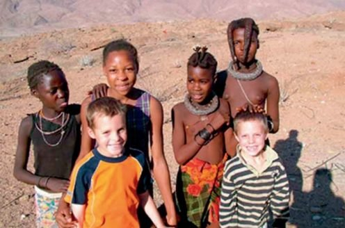 William and Joe with friends in Namibia