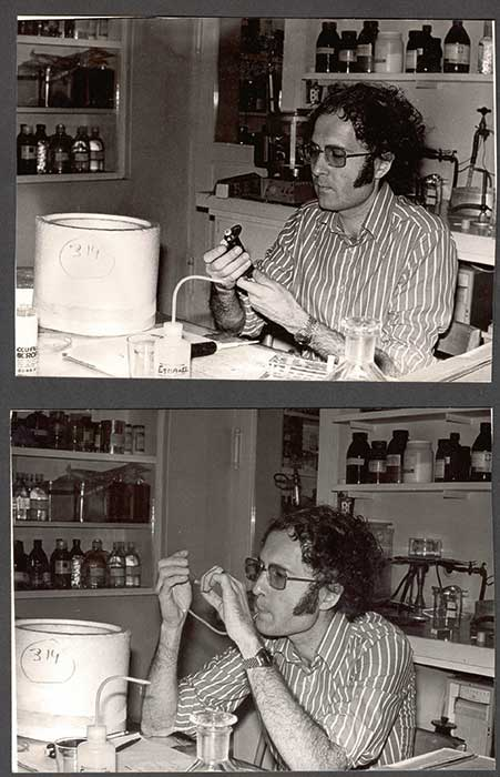 Gregory Winter in c.1980 demonstrating two methods for pipetting small volumes