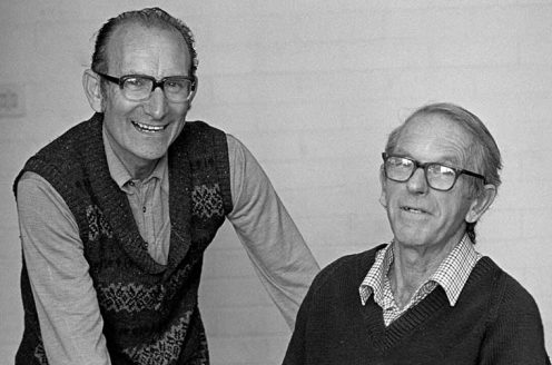 Cesar Milstein and Fred Sanger, mid-1980s.